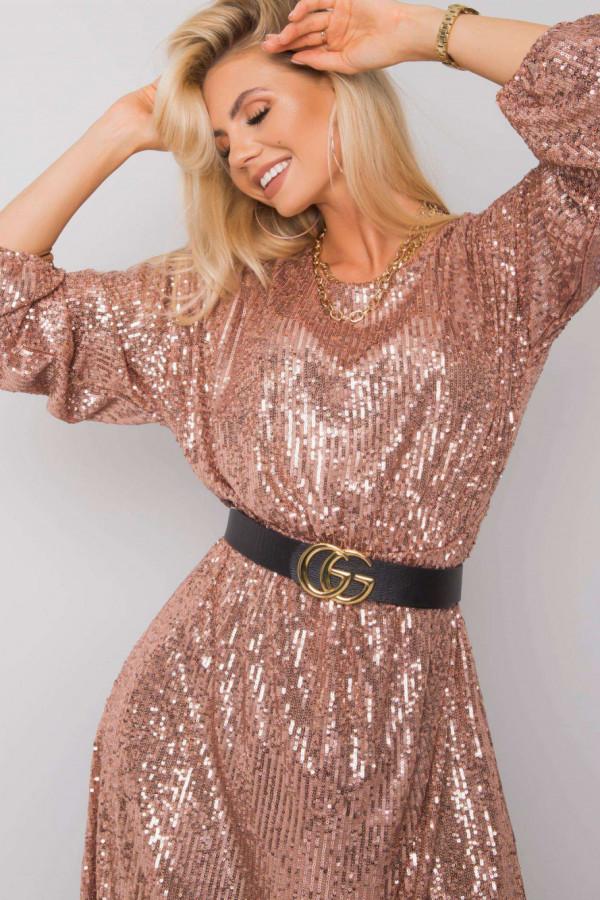 Różowo-złota sukienka wieczorowa z cekinami midi Ariel