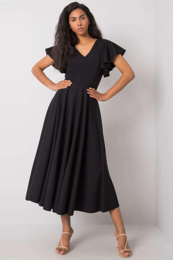 Czarna sukienka rozkloszowana z falbankami midi Nuria