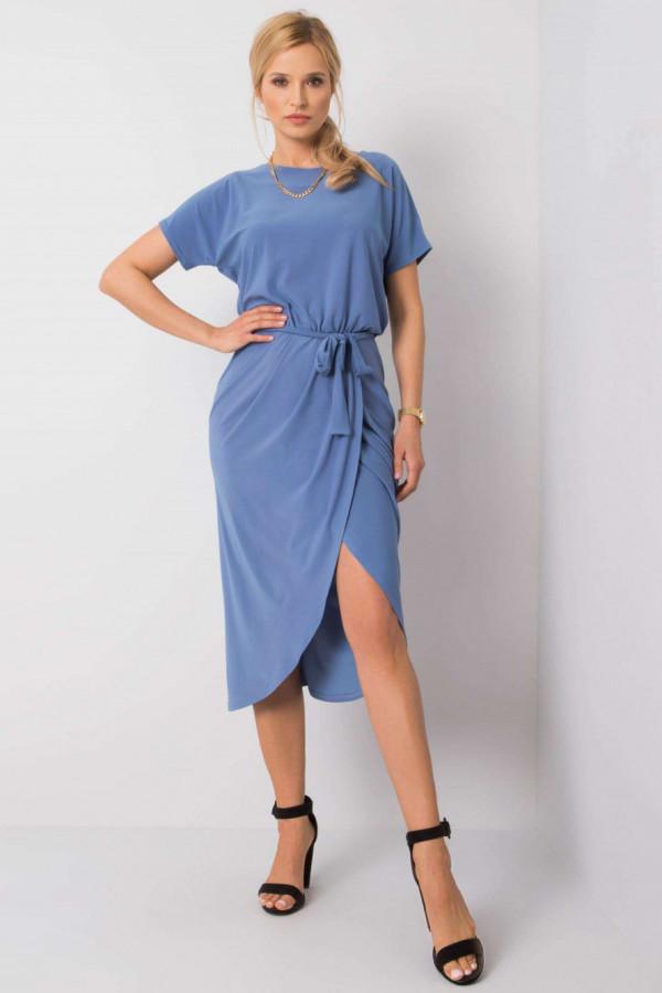 Niebieska kopertowa sukienka midi Esther