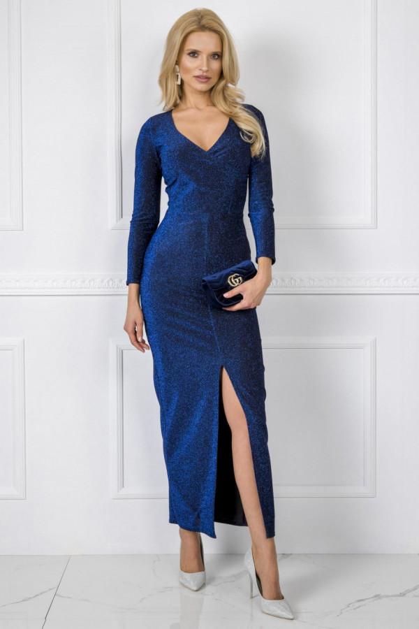 Niebieska błyszcząca sukienka z wycięciem maxi Montse