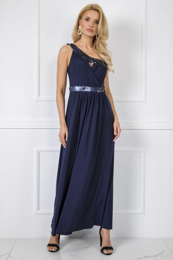 Granatowa sukienka wieczorowa z cekinami maxi Eva