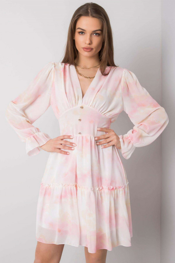 Różowa marmurkowa sukienka rozkloszowana z gorsetem Lidia