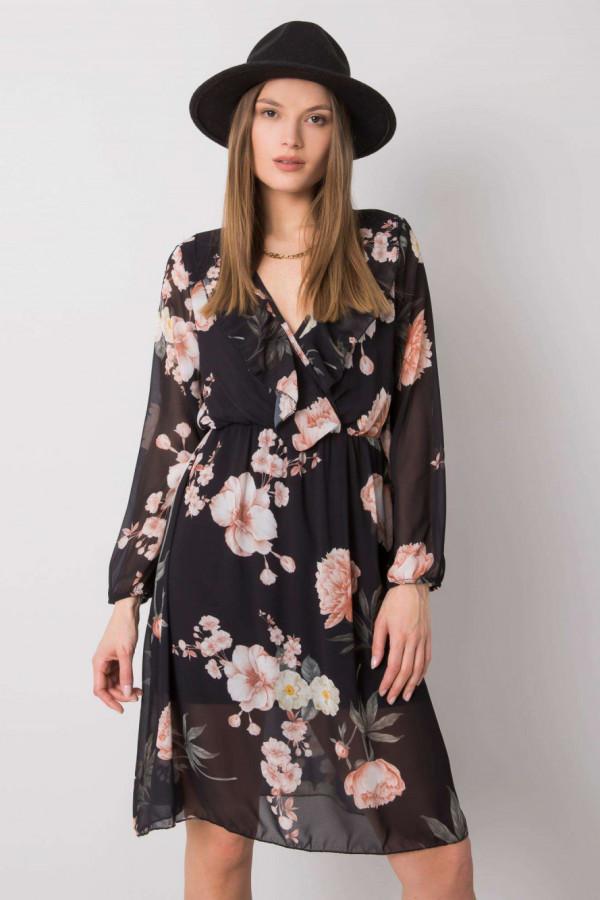 Czarna kwiatowa sukienka przekładana z falbankami Susana
