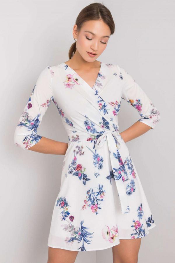 Biała kwiatowa sukienka przekładana z paskiem Juana