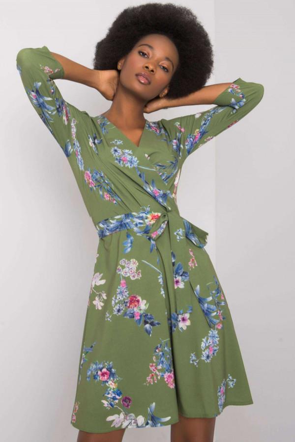 Zielona kwiatowa sukienka przekładana z paskiem Juana