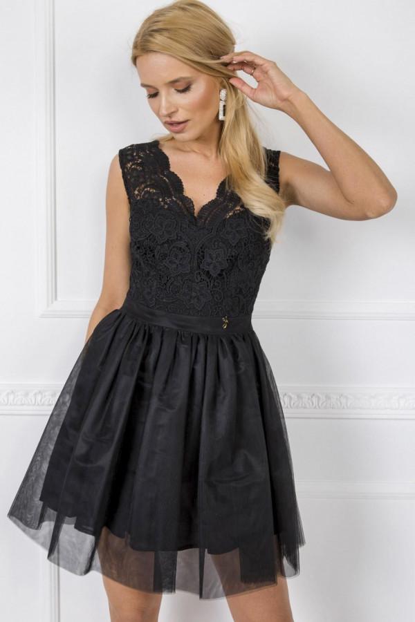 Czarna sukienka koktajlowa z koronkowym gorsetem Clarissa