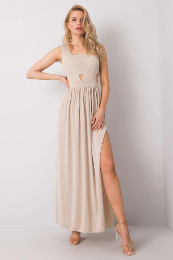 Beżowa sukienka wieczorowa maxi Laia