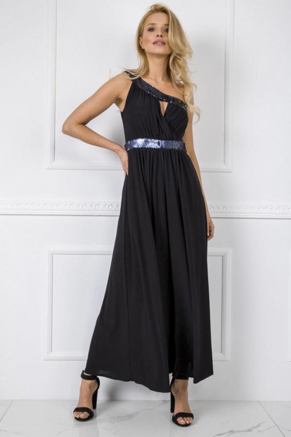 Czarna sukienka wieczorowa z cekinami maxi Eva