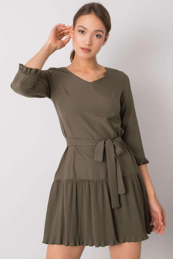 Khaki elegancka sukienka z plisowanym dołem Evelina