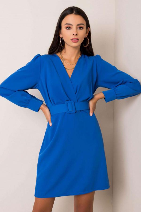 Niebieska sukienka z paskiem V-Neck Vera