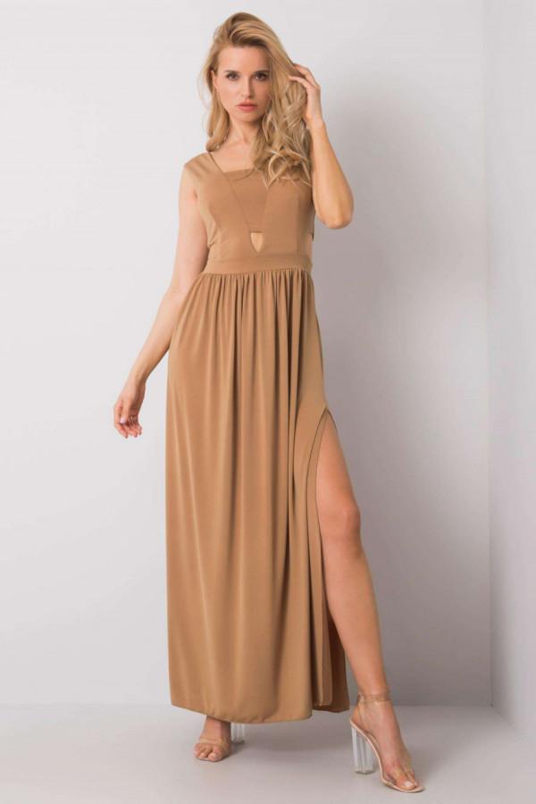 Karmelowa sukienka wieczorowa maxi Laia