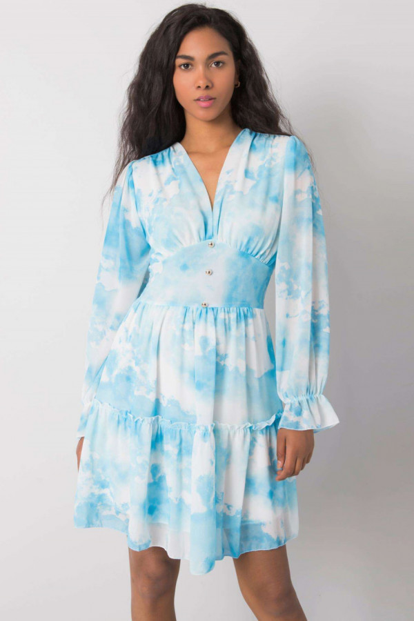 Niebieska marmurkowa sukienka rozkloszowana z gorsetem Lidia