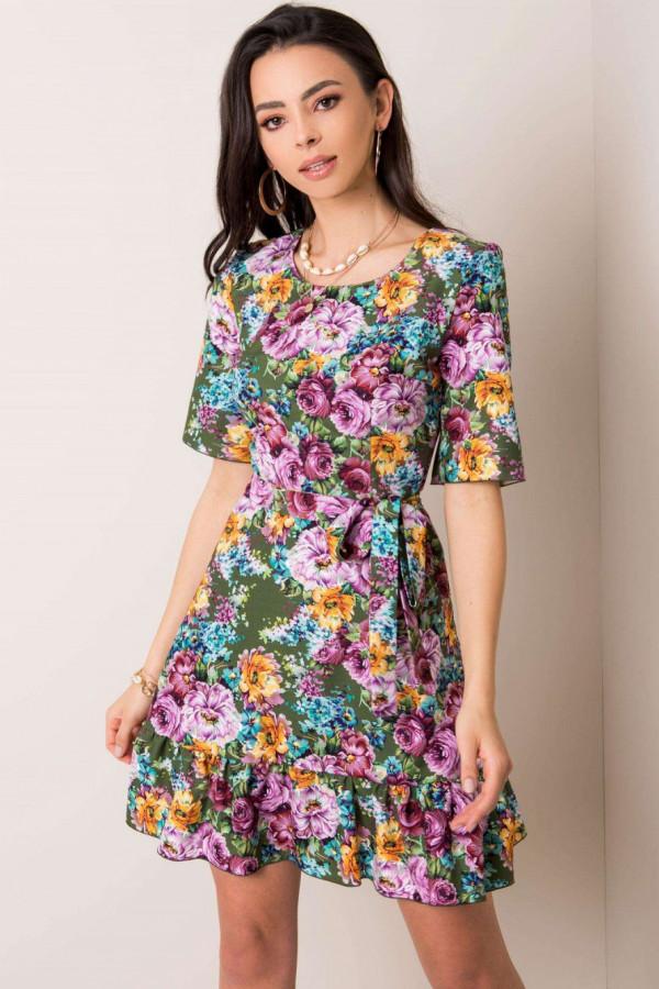 Khaki kwiatowa sukienka rozkloszowana z falbanką Helena