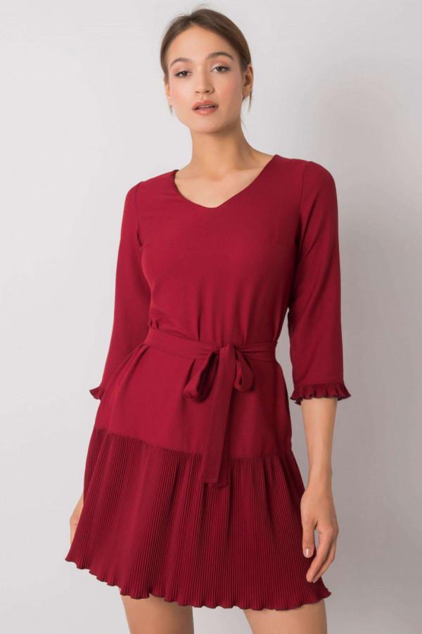 Bordowa elegancka sukienka z plisowanym dołem Evelina