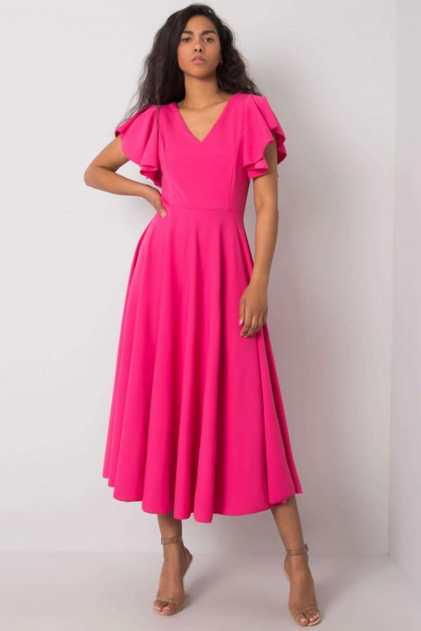 Różowa sukienka rozkloszowana z falbankami midi Nuria