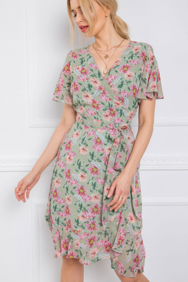 Miętowa kwiatowa sukienka kopertowa Victoria