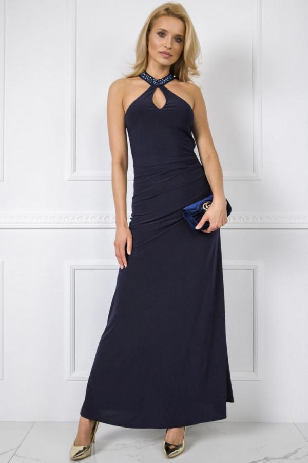 Granatowa wieczorowa sukienka z aplikacją maxi Fernanda