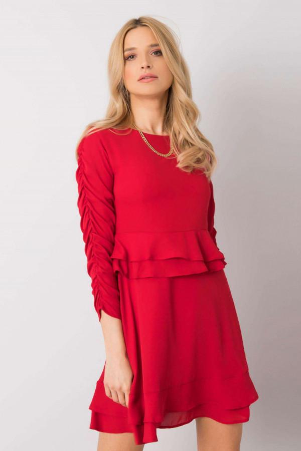 Czerwona koktajlowa sukienka z falbankami Laura