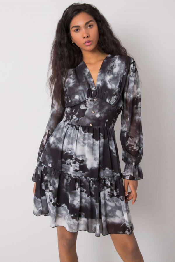 Czarna marmurkowa sukienka rozkloszowana z gorsetem Lidia